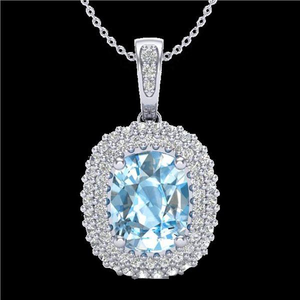 3 ctw Blue Topaz & Micro Pave VS/SI Diamond Necklace 10k White Gold - REF-50M8G
