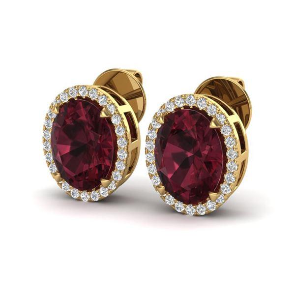 5.50 ctw Garnet & Micro VS/SI Diamond Halo Earrings 18k Yellow Gold - REF-48Y2X
