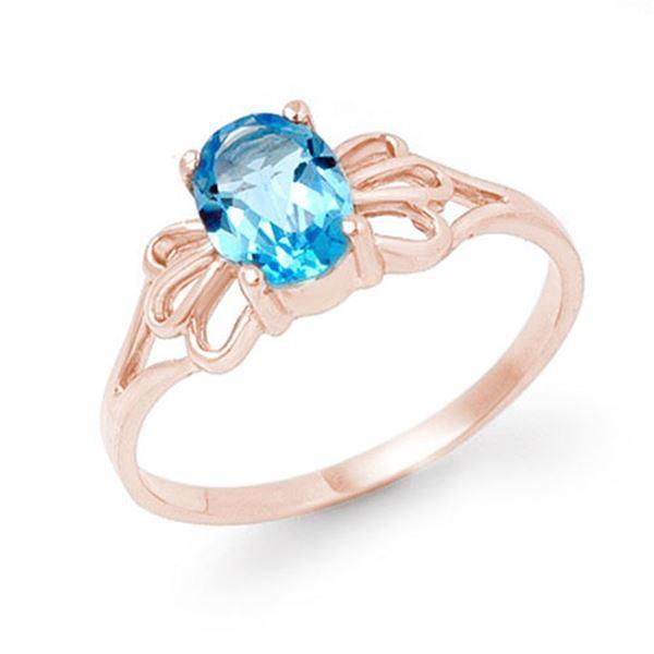 0.90 ctw Blue Topaz Ring 10k Rose Gold - REF-7W4H
