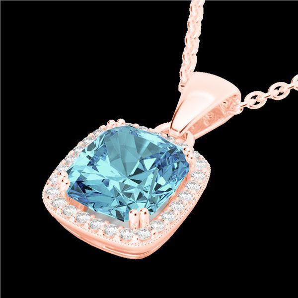 3.50 ctw Sky Blue Topaz & Micro VS/SI Diamond Necklace 14k Rose Gold - REF-31A4N