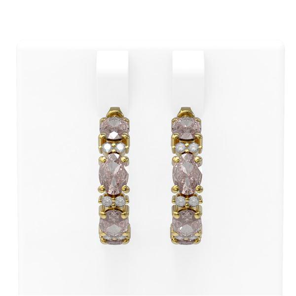 6.49 ctw Morganite & Diamond Earrings 18K Yellow Gold - REF-142R5K