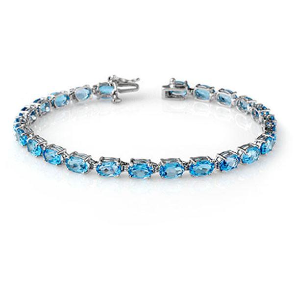 12.90 ctw Blue Topaz Bracelet 10k White Gold - REF-37Y2X
