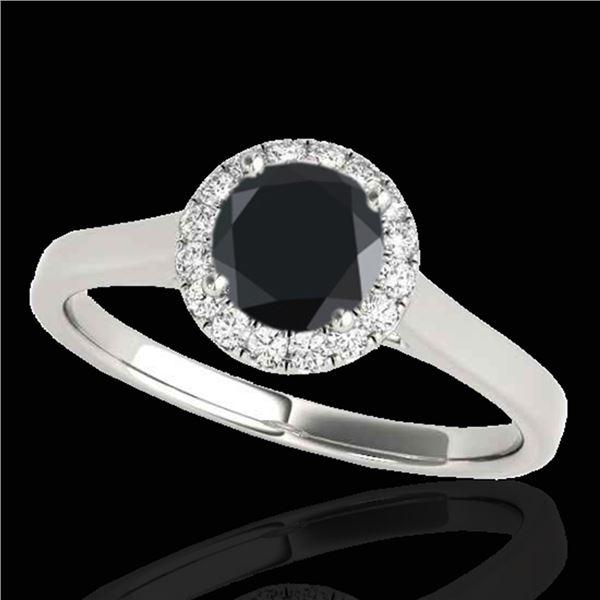 1.11 ctw Certified VS Black Diamond Solitaire Halo Ring 10k White Gold - REF-39G5W