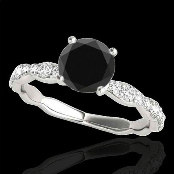 1.4 ctw Certified VS Black Diamond Solitaire Ring 10k White Gold - REF-42F3M