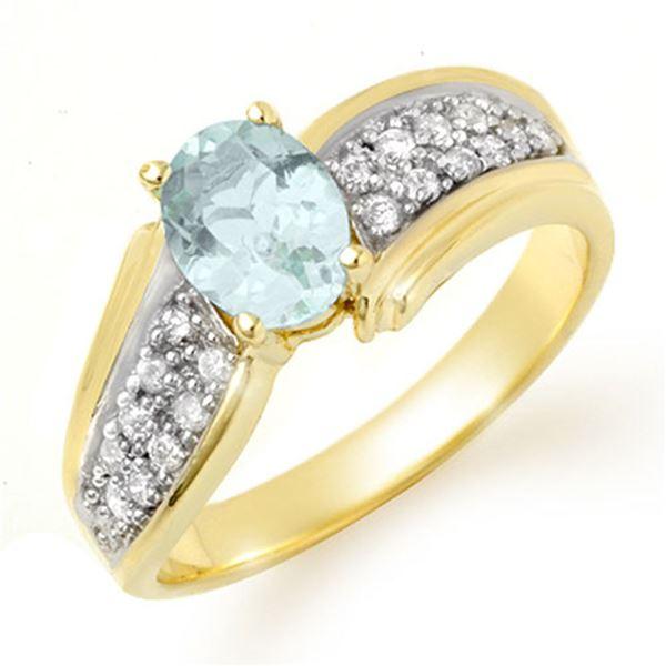 1.20 ctw Aquamarine & Diamond Ring 10k Yellow Gold - REF-40A2N