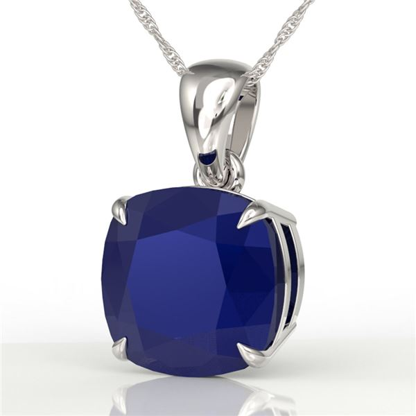 6 ctw Cushion Cut Sapphire Designer Solitaire Necklace 18k White Gold - REF-49N3F