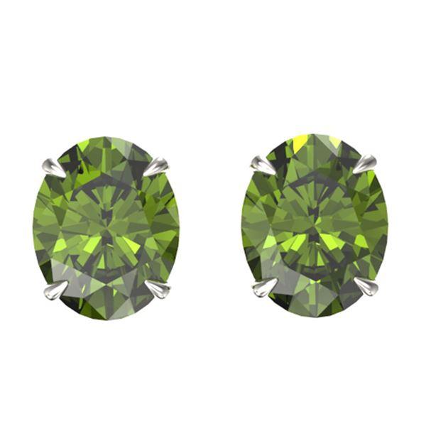 6 ctw Green Tourmaline Designer Stud Earrings 18k White Gold - REF-47K5Y