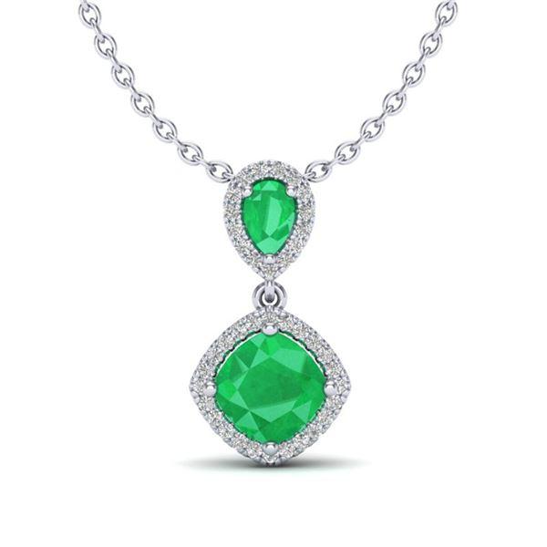 3.50 ctw Emerald & Micro VS/SI Diamond Necklace Designer 10k White Gold - REF-55M2G