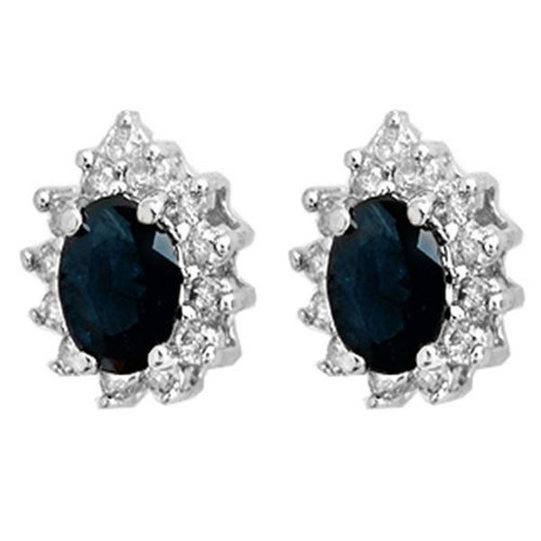 5.46 ctw Blue Sapphire & Diamond Earrings 18k White Gold - REF-100Y8X