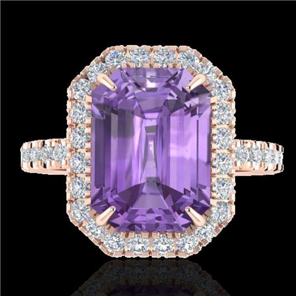 5.03 ctw Amethyst & Micro Pave VS/SI Diamond Ring 14k Rose Gold - REF-39Y8X
