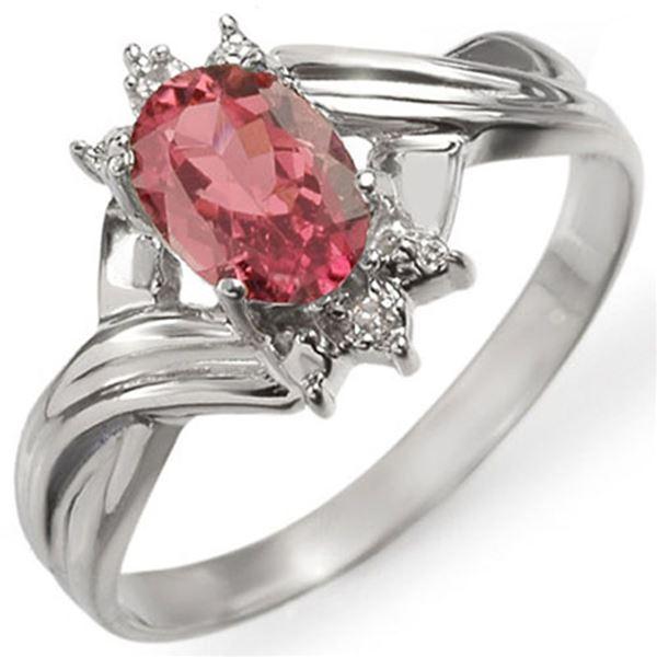 0.79 ctw Pink Tourmaline & Diamond Ring 18k White Gold - REF-22F5M
