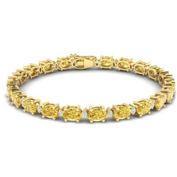 19.7 ctw Citrine & VS/SI Diamond Eternity Bracelet 10k Yellow Gold - REF-98G2W