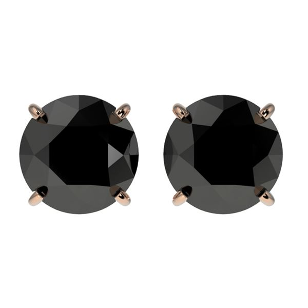 2.09 ctw Fancy Black Diamond Solitaire Stud Earrings 10k Rose Gold - REF-35G6W