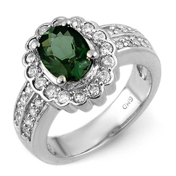 2.35 ctw Green Tourmaline & Diamond Ring 18k White Gold - REF-118H2R