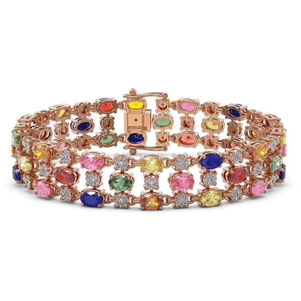 18.16 ctw Multi Color Sapphire & Diamond Row Bracelet 10K Rose Gold - REF-250F9M