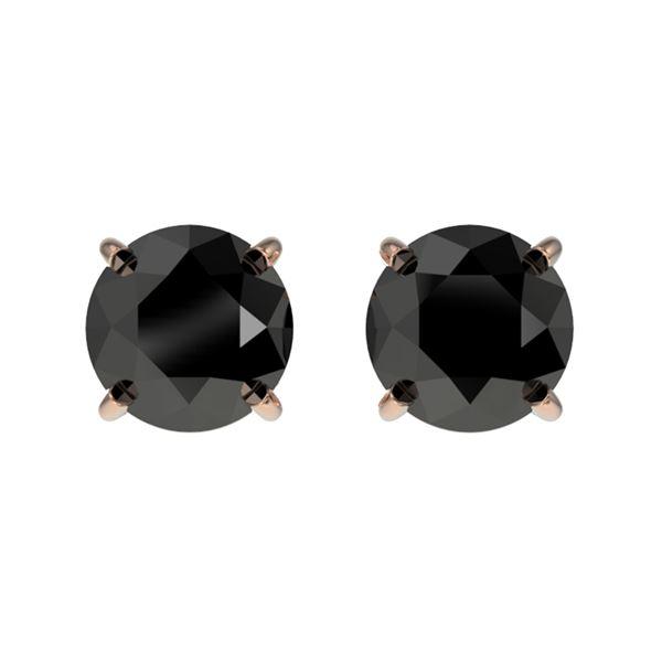 1.11 ctw Fancy Black Diamond Solitaire Stud Earrings 10k Rose Gold - REF-22G2W