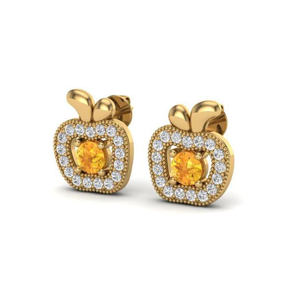 0.61 ctw Citrine & VS/SI Diamond Micro Pave Earrings 18k Yellow Gold - REF-32Y6X