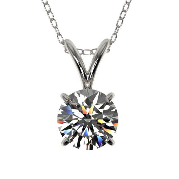 0.72 ctw Certified Quality Diamond Solitaire Necklace 10k White Gold - REF-61K8Y