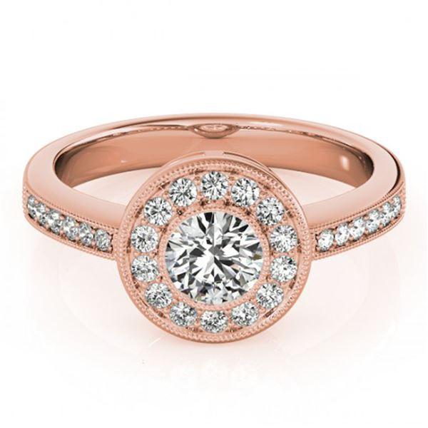 0.8 ctw Certified VS/SI Diamond Halo Ring 18k Rose Gold - REF-97Y8X