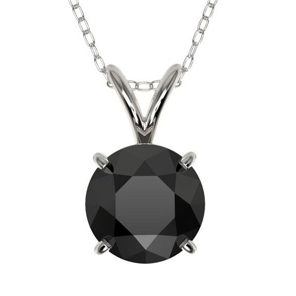 1.25 ctw Fancy Black Diamond Solitaire Necklace 10k White Gold - REF-31G9W