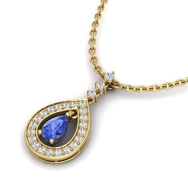 1.15 ctw Tanzanite & Micro Pave VS/SI Diamond Necklace 14k Yellow Gold - REF-49Y3X