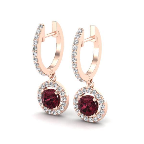 1.75 ctw Garnet & Micro VS/SI Diamond Certified Earrings 14k Rose Gold - REF-56H2R