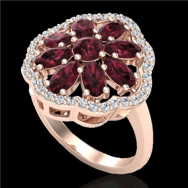 3 ctw Garnet & VS/SI Diamond Cluster Designer Ring 10k Rose Gold - REF-49K3Y