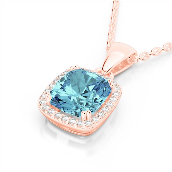 3.50 ctw Sky Blue Topaz & Micro VS/SI Diamond Necklace 14k Rose Gold - REF-31Y4X