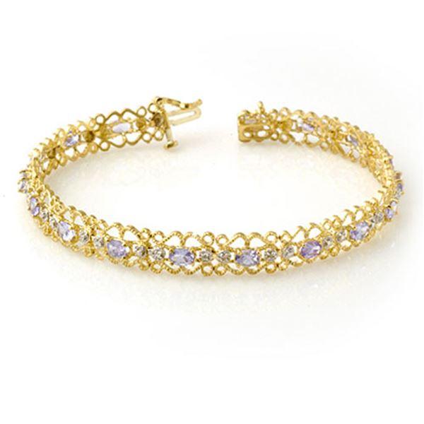 2.82 ctw Tanzanite & Diamond Bracelet 10k Yellow Gold - REF-53H5R