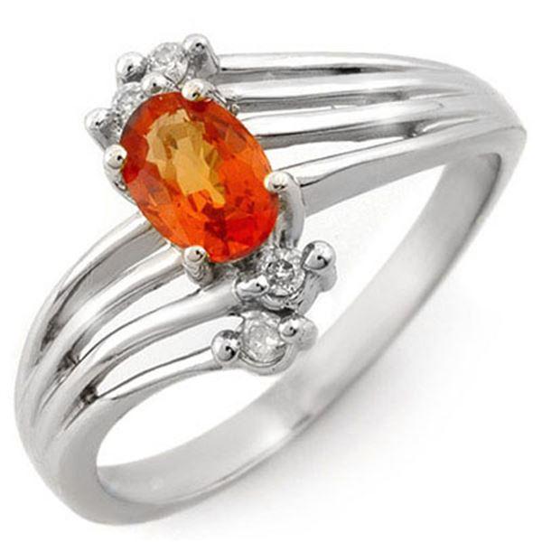 0.80 ctw Orange Sapphire & Diamond Ring 10k White Gold - REF-16X5A