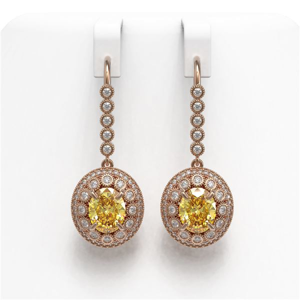 7.65 ctw Canary Citrine & Diamond Victorian Earrings 14K Rose Gold - REF-216A9N