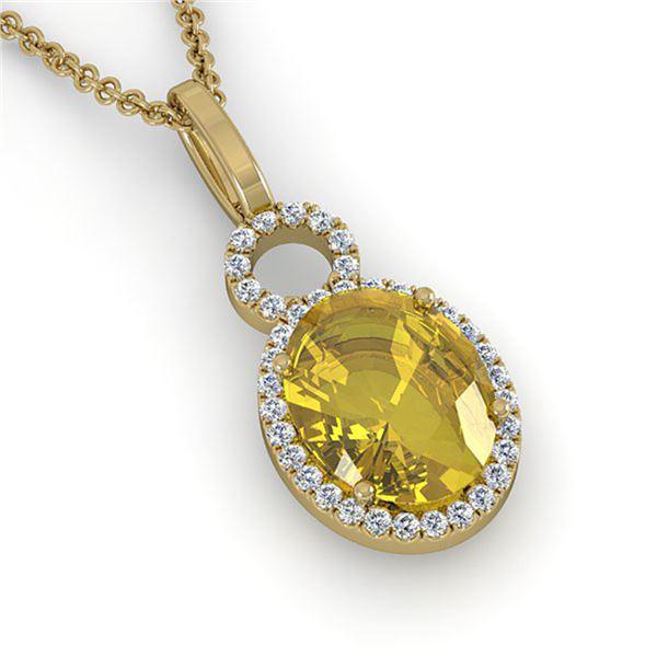 3 ctw Citrine & Micro Pave Halo VS/SI Diamond Necklace 14k Yellow Gold - REF-33F8M
