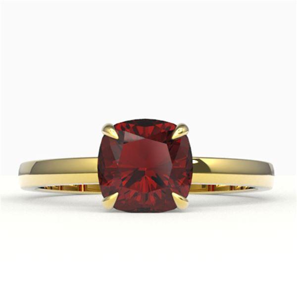 1.50 ctw Cushion Cut Garnet Designer Engagment Ring 18k Yellow Gold - REF-25X2A