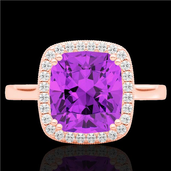 2.75 ctw Amethyst & Micro Pave VS/SI Diamond Halo Ring 14k Rose Gold - REF-30K2Y