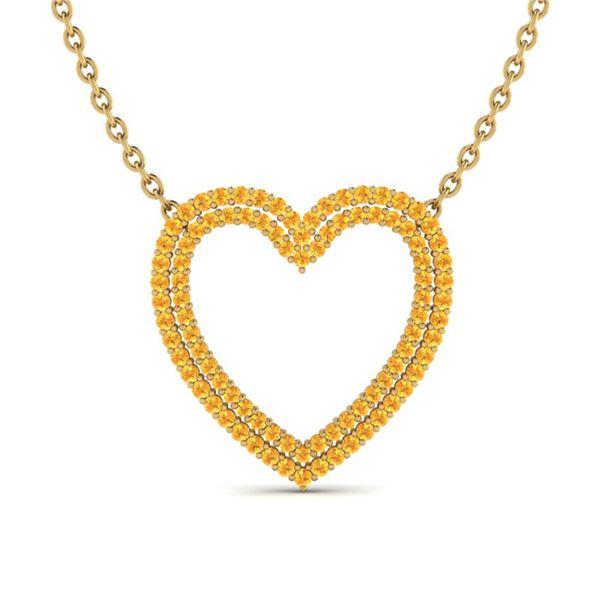 3.50 ctw Yellow Sapphire Heart Halo Designer Necklace 10k Yellow Gold - REF-50F9M