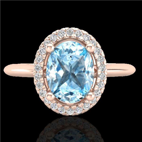 2 ctw Sky Blue Topaz & Micro VS/SI Diamond Ring Halo 14k Rose Gold - REF-30K3Y