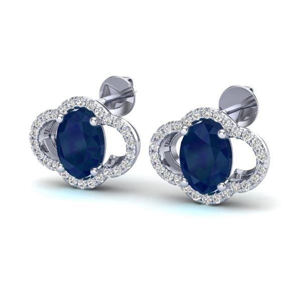 4 ctw Sapphire & Micro Pave VS/SI Diamond Certified Earrings 10k White Gold - REF-45G3W