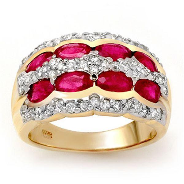 2.50 ctw Ruby & Diamond Ring 14k Yellow Gold - REF-105R5K