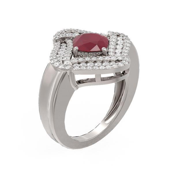 3.42 ctw Ruby & Diamond Ring 18K White Gold - REF-171K5Y