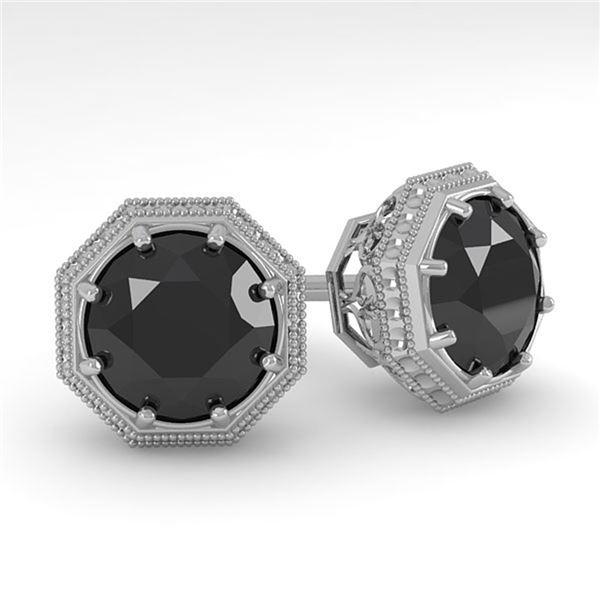 2.0 ctw Black Diamond Stud Solitaire Earrings Art Deco 18k White Gold - REF-50K3Y