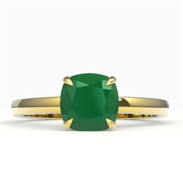 2 ctw Cushion Cut Emerald Solitaire Engagment Ring 18k Yellow Gold - REF-33A4N