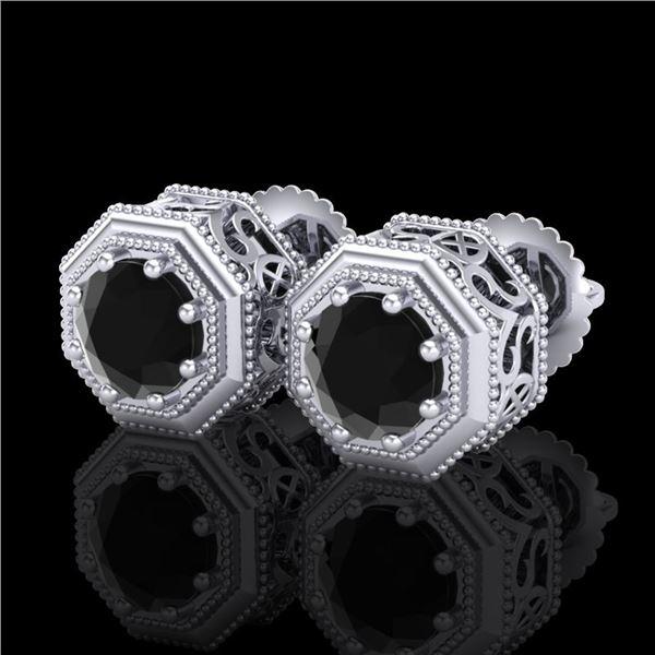 1.07 ctw Fancy Black Diamond Art Deco Stud Earrings 18k White Gold - REF-50R8K