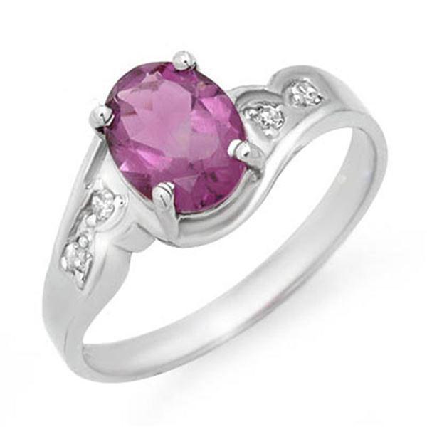 1.26 ctw Amethyst & Diamond Ring 10k White Gold - REF-12G3W