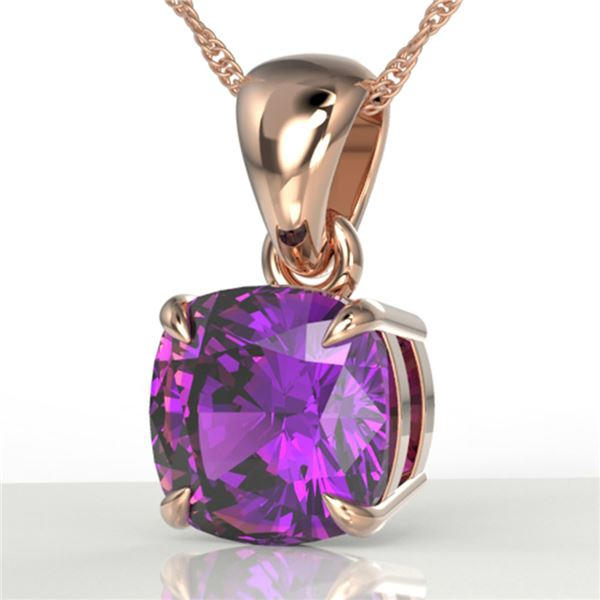 2 Cushion Cut ctw Amethyst Designer Solitaire Necklace 14k Rose Gold - REF-15A3N