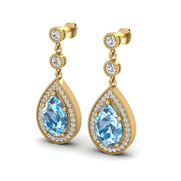 7.50 ctw Sky Topaz & Micro Pave VS/SI Diamond Earrings 18k Yellow Gold - REF-55X2A