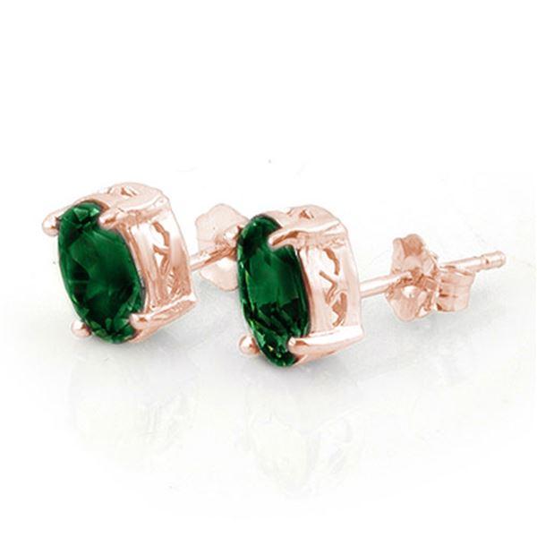 2.0 ctw Emerald Earrings 14k Rose Gold - REF-10K2Y