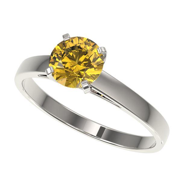 1 ctw Certified Intense Yellow Diamond Engagment Ring 10k White Gold - REF-163A2N