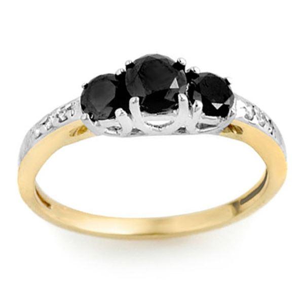 1.05 ctw VS Black & White Diamond Ring 2-Tone 14k 2-Tone Gold - REF-32H8R