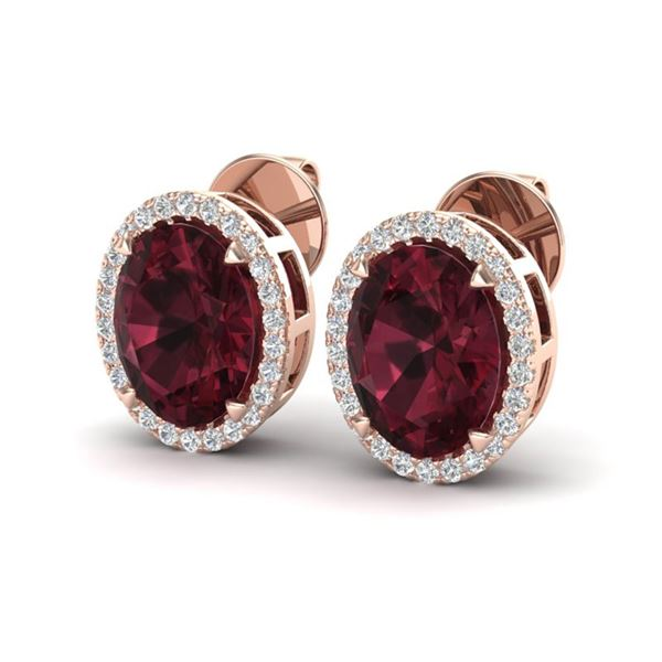 5.50 ctw Garnet & Micro VS/SI Diamond Halo Earrings 14k Rose Gold - REF-45M3G
