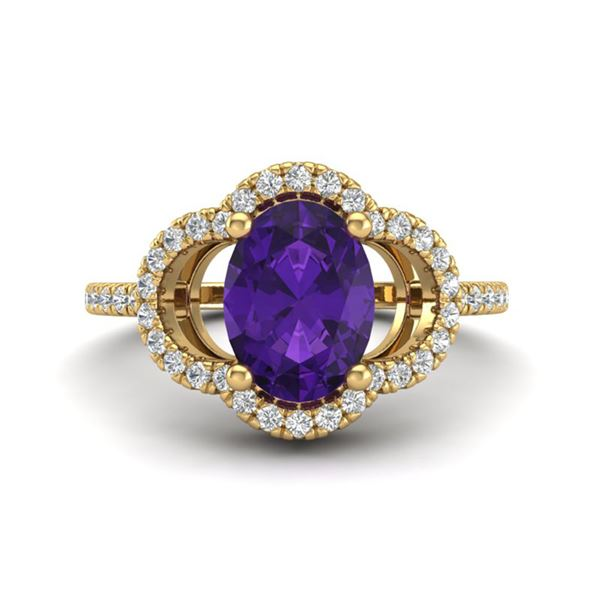 2 ctw Amethyst & Micro Pave VS/SI Diamond Certified Ring 10k Yellow Gold - REF-30G8W